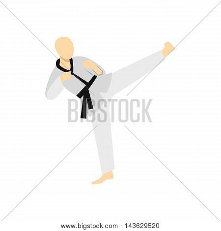 Wushu fighting style icon in flat style on a white background
