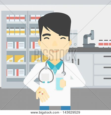 An asian young pharmacist in medical gown holding in hands a glass of water and pills. Pharmacist standing in the laboratory. Pharmacist giving pills. Vector flat design illustration. Square layout.