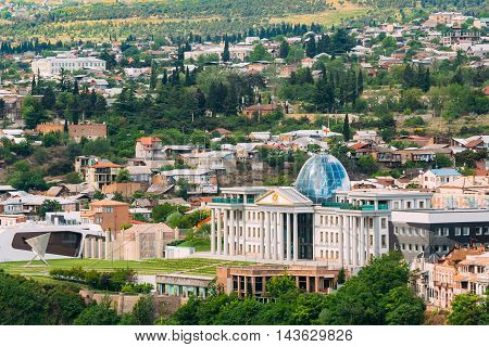 The Top View Of Presidential Administration Palace, Avlabari Residence In Summer Daytime, Uptown Of Avlabari District Background, Tbilisi, Georgia