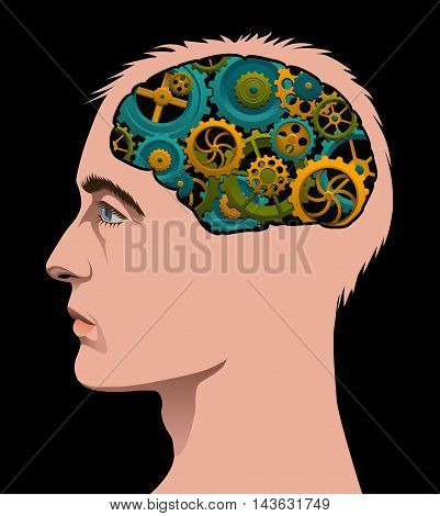 Man's head with cogs turning in his brain.