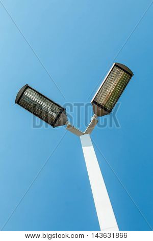 Post LED street lamps that save energy.