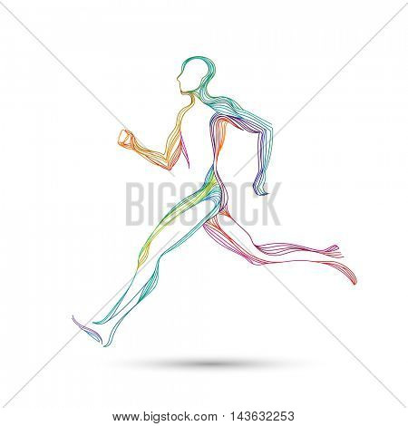 Running man, runner, athlete in colorful lines, eps10 vector