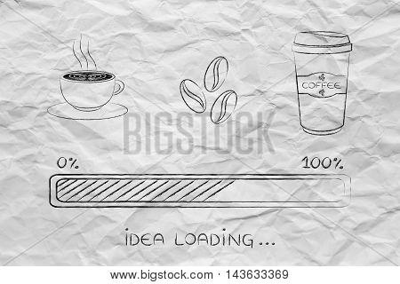 Coffee Icons With Progress Bar Loading Idea
