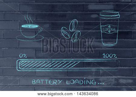 Coffee Icons With Progress Bar Loading Awakeness, Battery Version