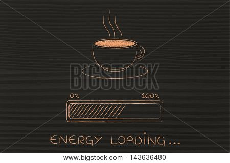 Coffee Cup & Progress Bar Loading Energy