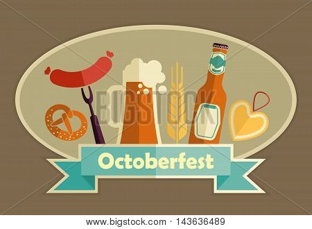 Octoberfest label. German food and beer symbols. Vector illustration.