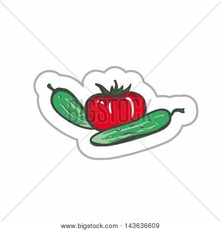 Cucumbers and tomatoes. Vegetables illustration. Vegetables EPS10. Vegetables colored. Vegetables flat. Vegetables art. Vegetables label. Vegetables simple.