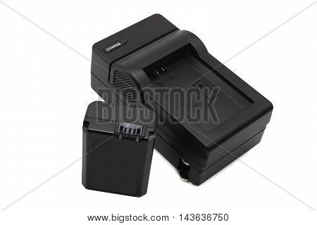 Lithium Battery and charger for digital camera on white background