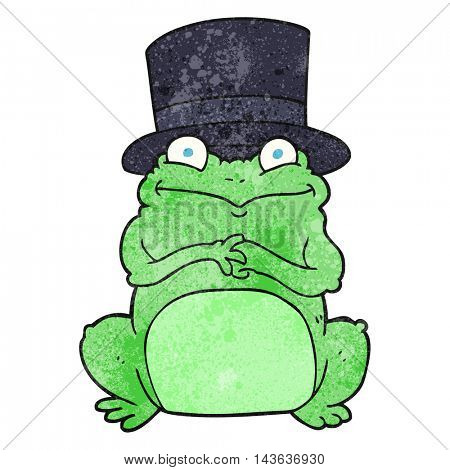 freehand textured cartoon frog in top hat