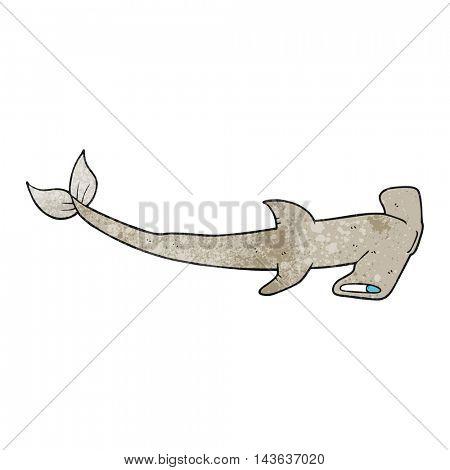 freehand textured cartoon hammerhead shark