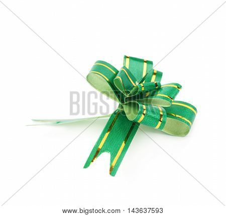 Single foldable tape bow isolated over the white background