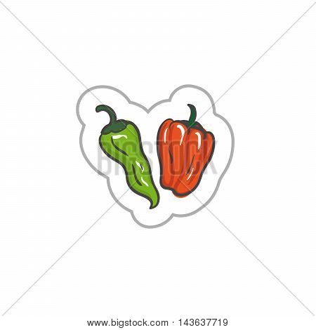 Bell pepper. Vegetables illustration. Vegetables EPS10. Vegetables colored. Vegetables flat. Vegetables art. Vegetables label. Vegetables simple.