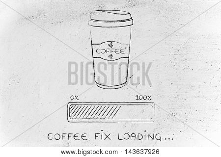 Coffee Tumbler And Progress Bar Loading Awakeness