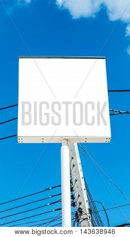 New outdoor signage with a white background.