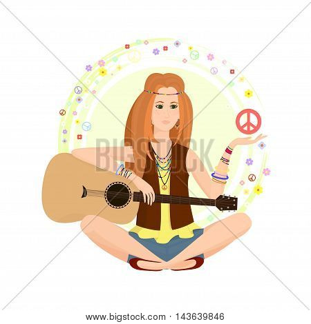 Red-haired girl of hippie with a guitar surrounded by flowers and characters in costume jewelry and women's hippies. A girl holding a peace sign or the Pacific. Vector illustration.