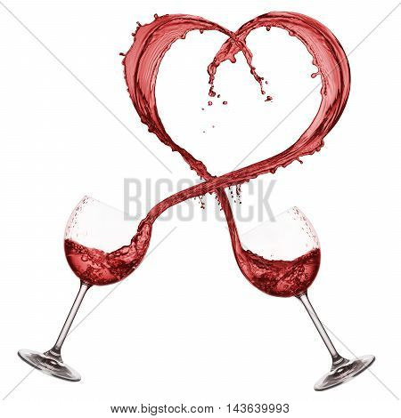 glasses pouring red wine that forming a heart shape isolated on white