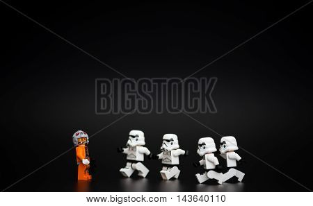 Orvieto Italy - November 15th 2015: Group of Star Wars Lego Stormtroopers minifigures. Lego is a popular line of construction toys manufactured by the Lego Group
