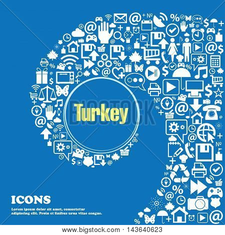 Turkey Symbols. Nice Set Of Beautiful Icons Twisted Spiral Into The Center Of One Large Icon. Vector