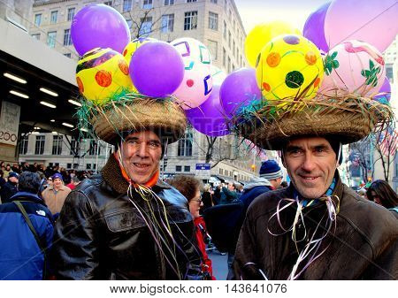 New York City - March 24 2007: Two men wearing creative balloon hats at the annual Easter Parade on Fifth Avenue