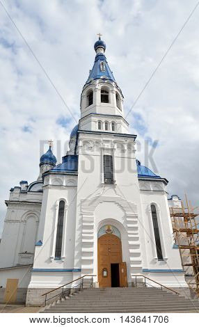 Bell tower of Pokrovsky Cathedral in Gatchina Russia.