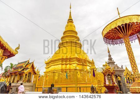 The Wat Phra That Hariphunchai temple in Lamphun,Thailand.