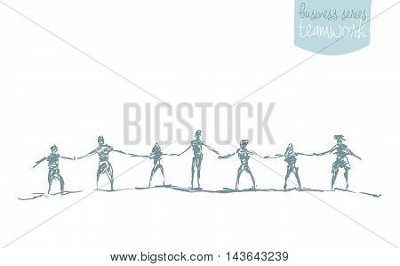 People hold hands in a spirit of togetherness, vector illustration, hand drawn, sketch