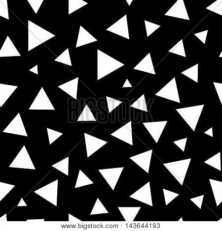 Triangle chaotic seamless pattern. Fashion graphic background design. Modern stylish abstract monochrome texture. Template for prints textiles wrapping wallpaper website. Stock VECTOR illustration