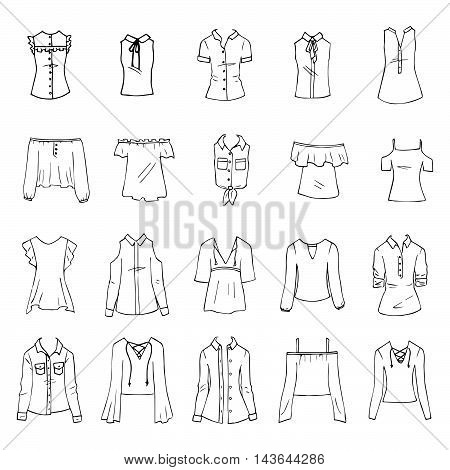 Hand drawn vector clothing set isolated on white. 15 models of trendy shirts and blouses.