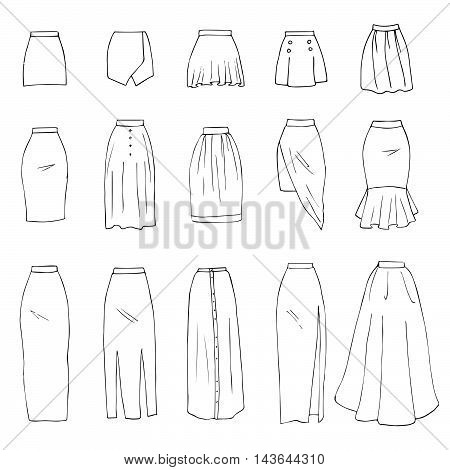 Hand drawn vector clothing set isolated on white. 15 models of trendy skirts: mini, midi, maxi.