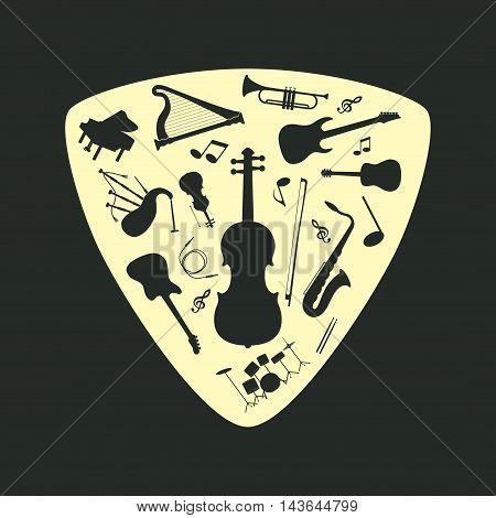 Musical instrument set on a plectrum, vector illustration