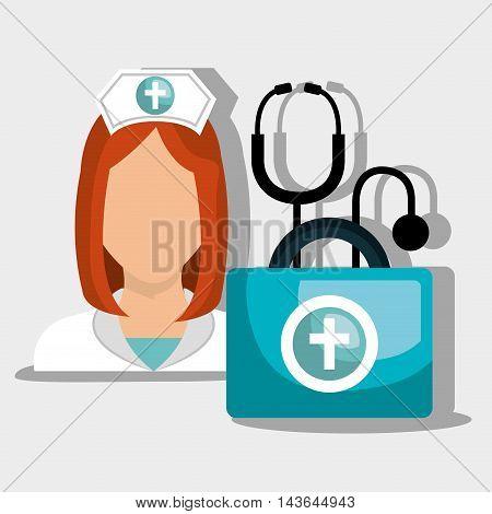nurse tools service kit vector illustration graphic
