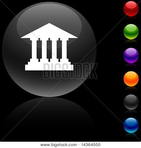 Exchange  glossy icon. Vector illustration.