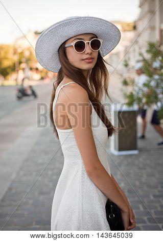 Stylish Young Tourist Woman.