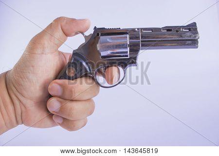 Pistol Revolver Handgun Isolated On White Background. artillery fire.