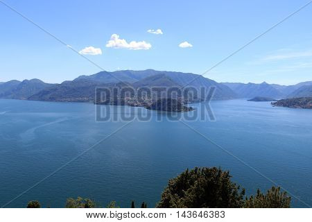 Panorama of Lake Como and lakeside city Bellagio with mountains in Lombardy Italy
