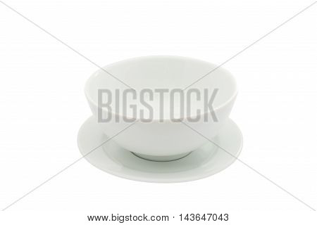 empty plate for soup on a white background