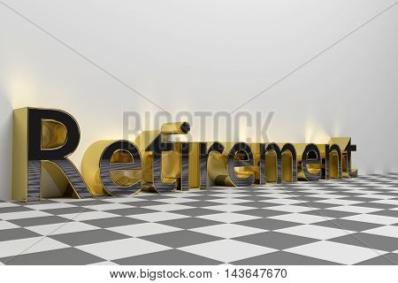 Retirement wording illustration rendered with glossy gold letters