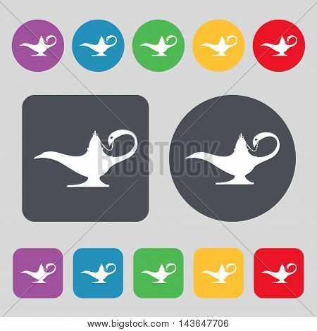 Alladin Lamp Genie Icon Sign. A Set Of 12 Colored Buttons. Flat Design. Vector