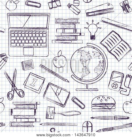 School items on a sheet of exercise book. Back to School. Blue Ball pen drawing. Vector illustration. Set