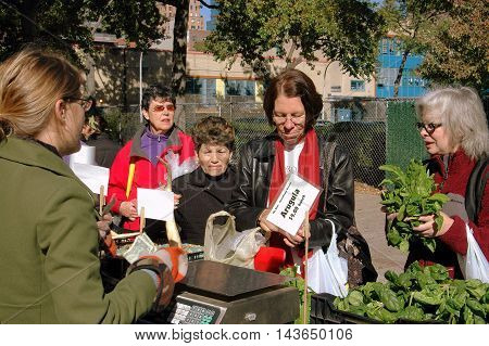 New York City - October 27 2006: Women shopping for fresh produce at the West 97th Street farmer's market