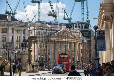 LONDON UK - SEPTEMBER 19, 2015:  House of the Mayor on Bank of England square
