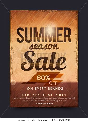 Summer Season Sale with 60% Off on every brands for limited time only, Creative vintage typographical background, Can be used as Poster, Banner, Flyer, Template or Brochure design.