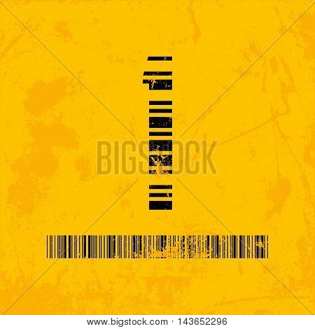 Stylish barcode typeface number one. Stripped letters of barcode scanning. Custom font. Vector illustration