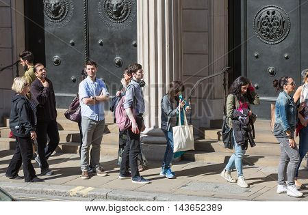 LONDON UK - SEPTEMBER 19, 2015: Queue on the Bank street. People waiting to see Bank of England in open day event