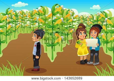 A vector illustration of happy kids on a corn field