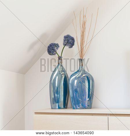 Two Decorative Blue Vases