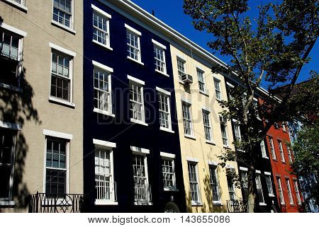 New York City - August 18 2007: Handsome 19th century federal town houses on Sullivan Street in Greenwich Village