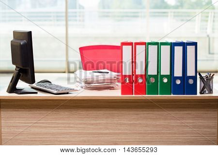 Office binders on the desk