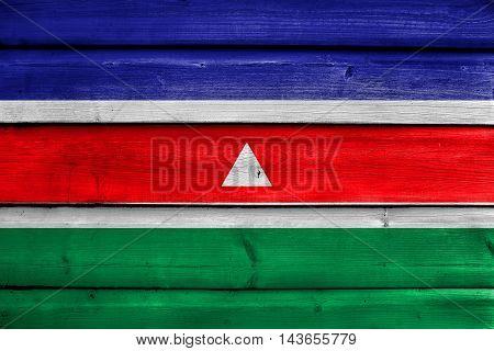 Flag Of Juiz De Fora, Brazil, Painted On Old Wood Plank Background