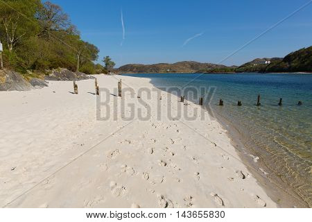 Morar beach Scotland UK beautiful white sandy beach Scottish tourist destination located south of Mallaig